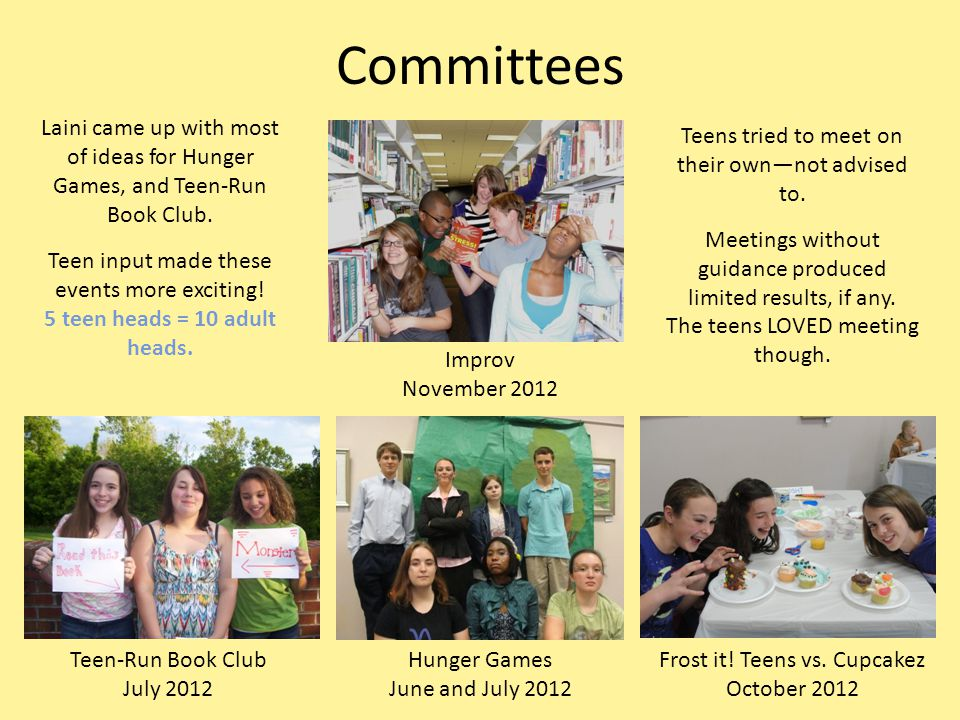 Committees Improv November 2012 Hunger Games June and July 2012 Teen-Run Book Club July 2012 Frost it.