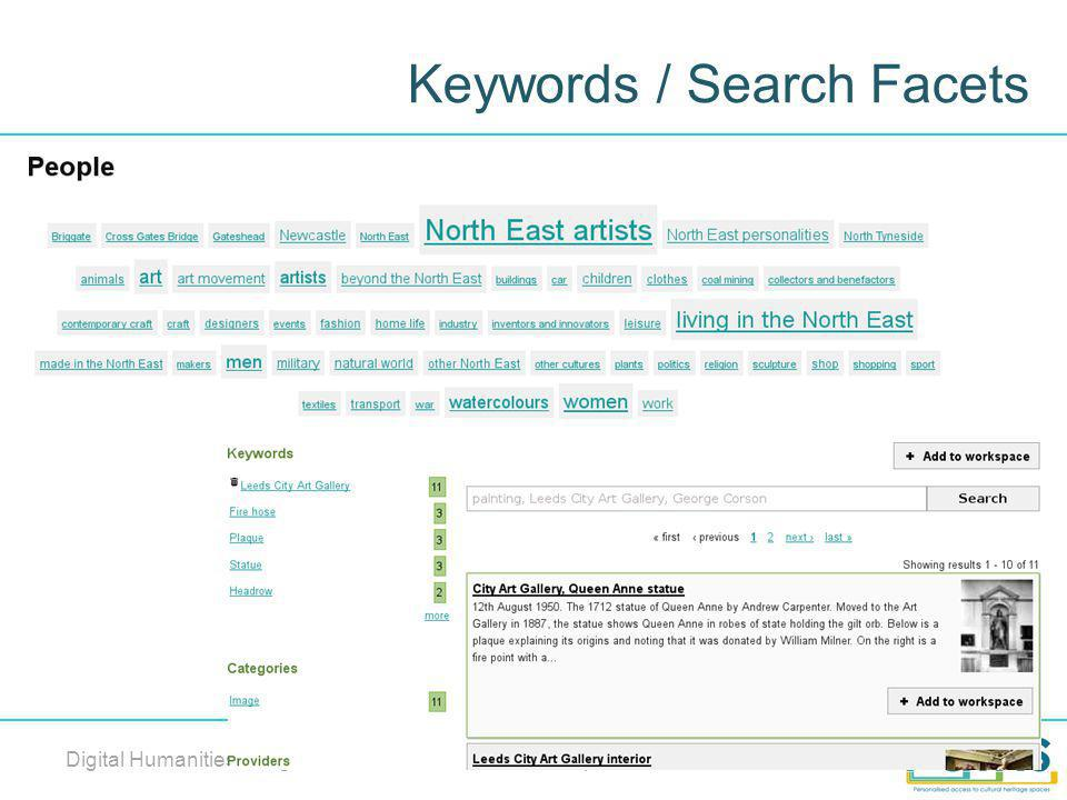 Keywords / Search Facets Digital Humanities Congress 2012, Sheffield, 6 th – 8 th September