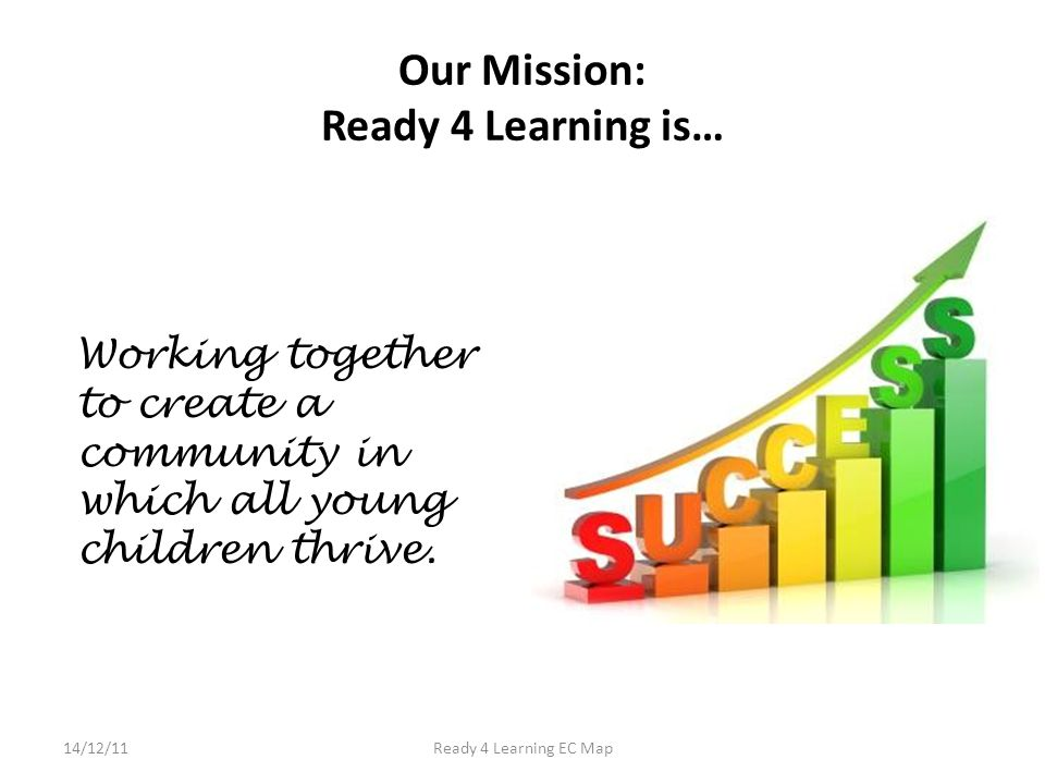 Our Mission: Ready 4 Learning is… Working together to create a community in which all young children thrive.