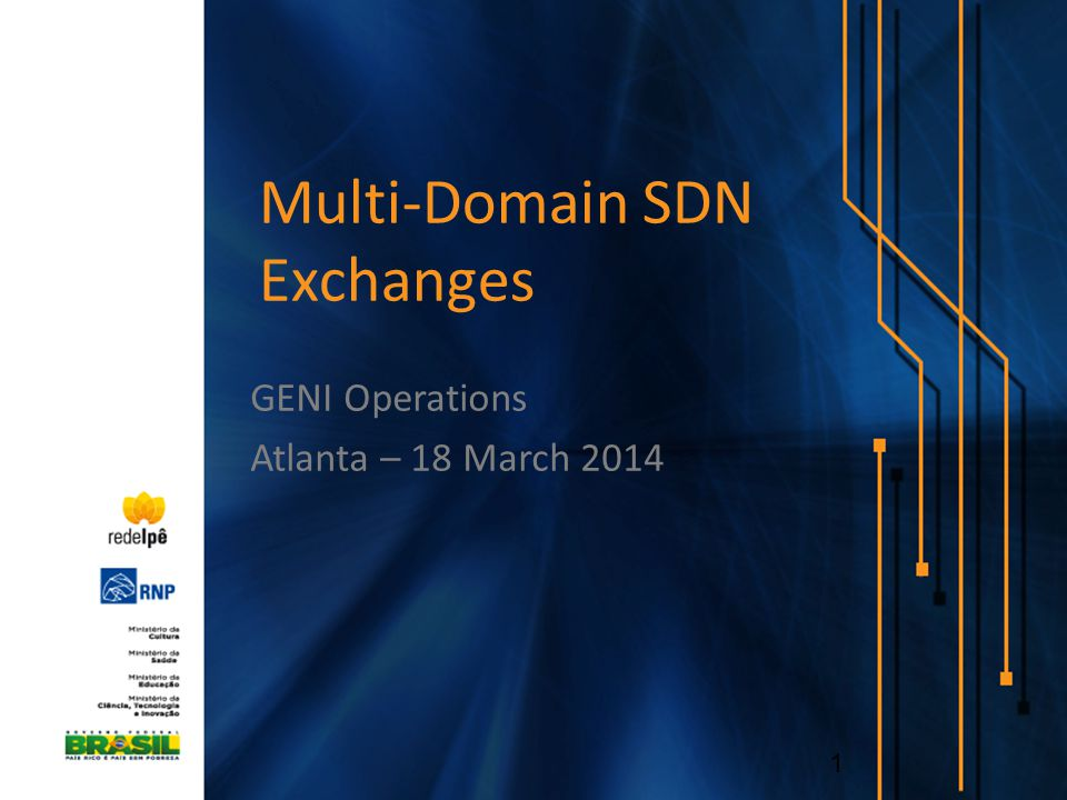Multi-Domain SDN Exchanges GENI Operations Atlanta – 18 March 2014 1
