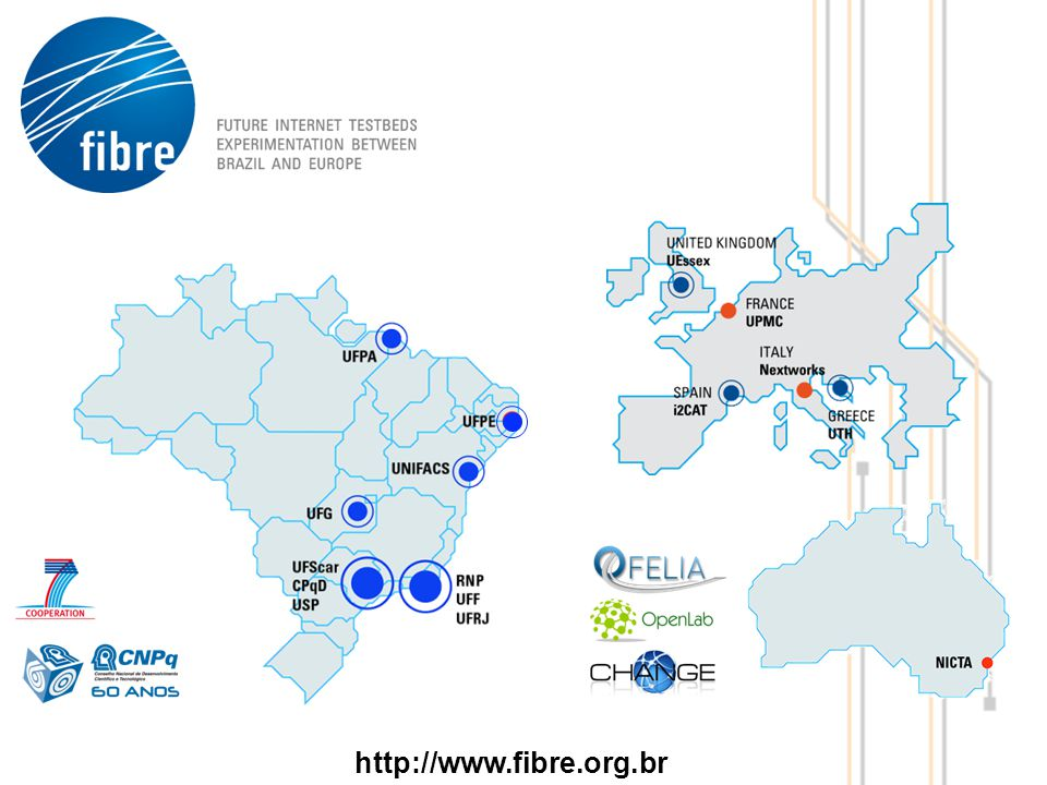 Partners FIBRE-EU i2Cat, Coordinator Nextworks (NXW), Universite Pierre et Marie Curie (UPMC) University of Essex (UESSEX) University of Thessaly (UTH) National ICT Australia Limited (NICTA) FIBRE-BR Federal University of Pará (UFPA), Coordinator Brazils National Education and Research Network (RNP) Telecommunications Research and Development Centre (CPqD) Fluminense Federal University (UFF) Federal University of Goiás (UFG) Federal University of Sao Carlos (UFSCar) Federal University of Rio de Janeiro (UFRJ) Salvador University (UNIFACS) University of Sao Paulo (USP) University of Pernambuco (UFPE) 3