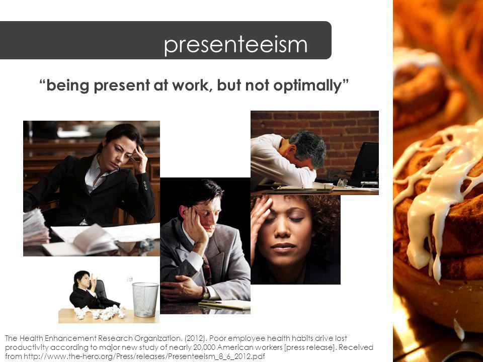 presenteeism being present at work, but not optimally The Health Enhancement Research Organization.