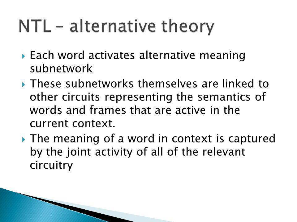 Each word activates alternative meaning subnetwork These subnetworks themselves are linked to other circuits representing the semantics of words and frames that are active in the current context.