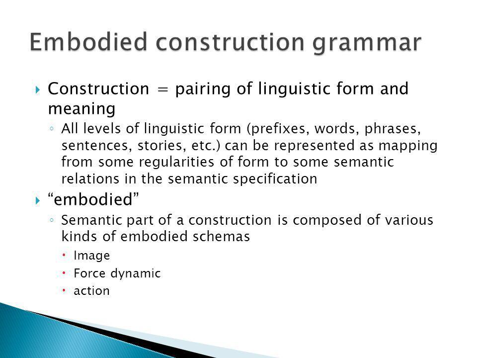 Construction = pairing of linguistic form and meaning All levels of linguistic form (prefixes, words, phrases, sentences, stories, etc.) can be represented as mapping from some regularities of form to some semantic relations in the semantic specification embodied Semantic part of a construction is composed of various kinds of embodied schemas Image Force dynamic action