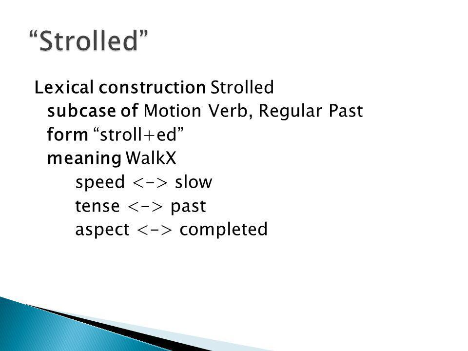 Lexical construction Strolled subcase of Motion Verb, Regular Past form stroll+ed meaning WalkX speed slow tense past aspect completed