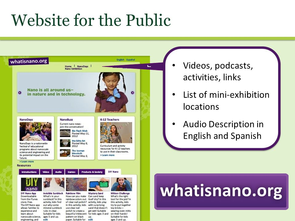 Website for the Public r Videos, podcasts, activities, links List of mini-exhibition locations Audio Description in English and Spanish
