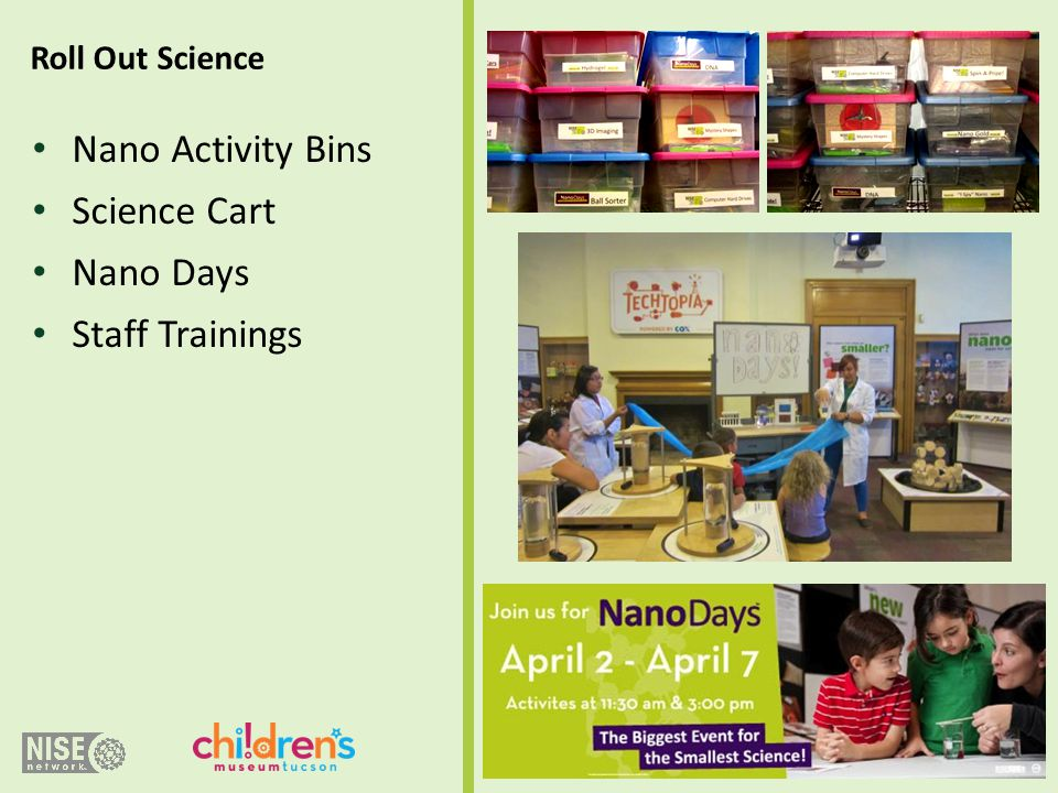 Nano Activity Bins Science Cart Nano Days Staff Trainings Roll Out Science