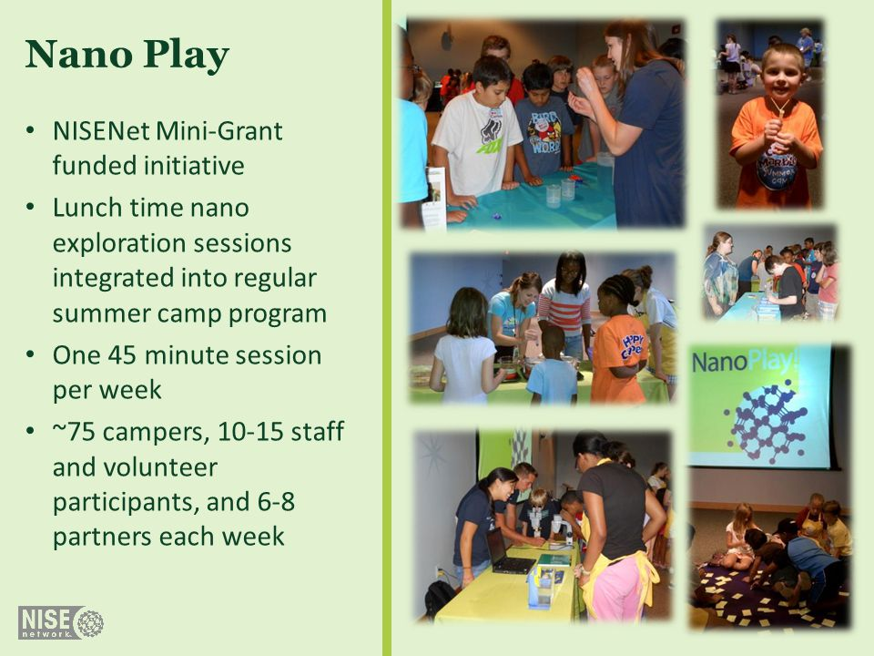 NISENet Mini-Grant funded initiative Lunch time nano exploration sessions integrated into regular summer camp program One 45 minute session per week ~