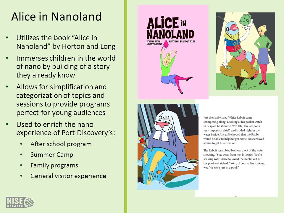 Utilizes the book Alice in Nanoland by Horton and Long Immerses children in the world of nano by building of a story they already know Allows for simp