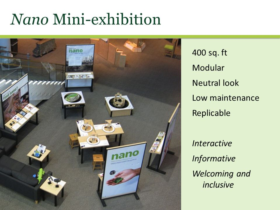 Nano Mini-exhibition 400 sq. ft Modular Neutral look Low maintenance Replicable Interactive Informative Welcoming and inclusive