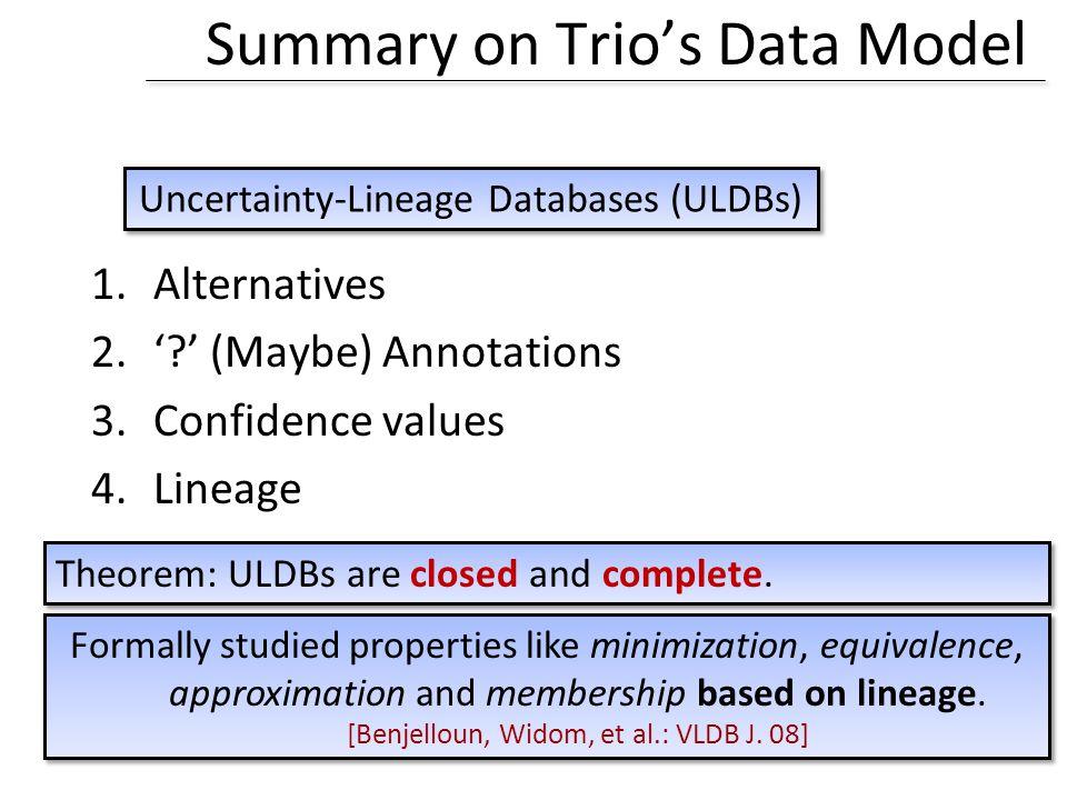 Summary on Trios Data Model 1.Alternatives 2..