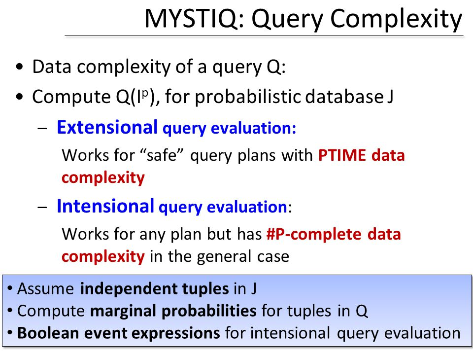 MYSTIQ: Query Complexity Data complexity of a query Q: Compute Q(I p ), for probabilistic database J – Extensional query evaluation: Works for safe qu