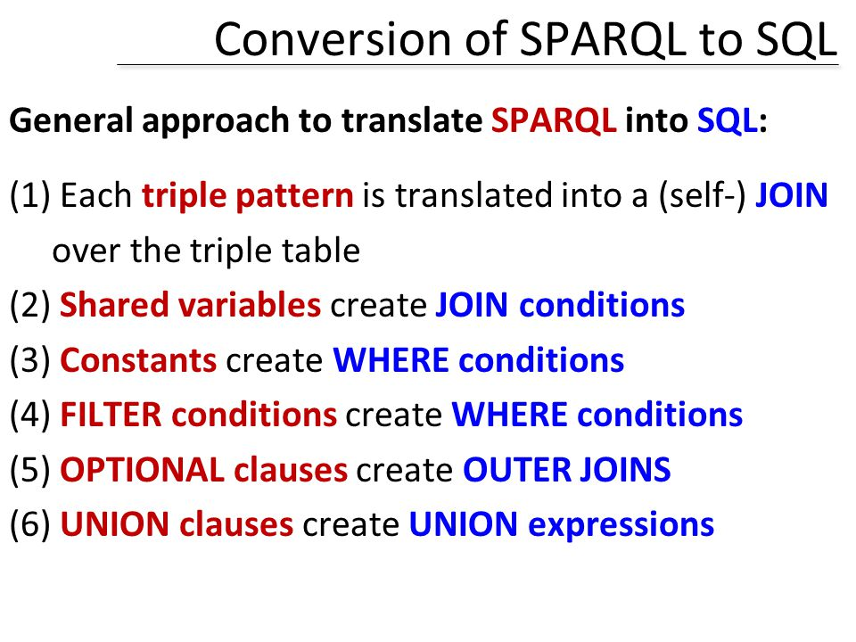 Conversion of SPARQL to SQL General approach to translate SPARQL into SQL: (1) Each triple pattern is translated into a (self-) JOIN over the triple t