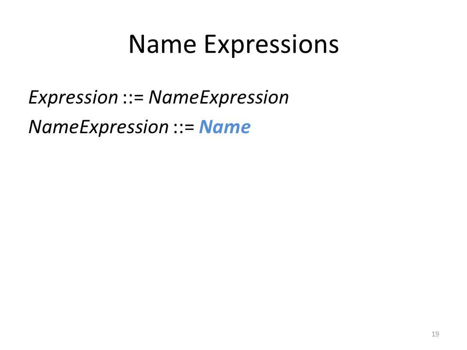 Name Expressions Expression ::= NameExpression NameExpression ::= Name 19