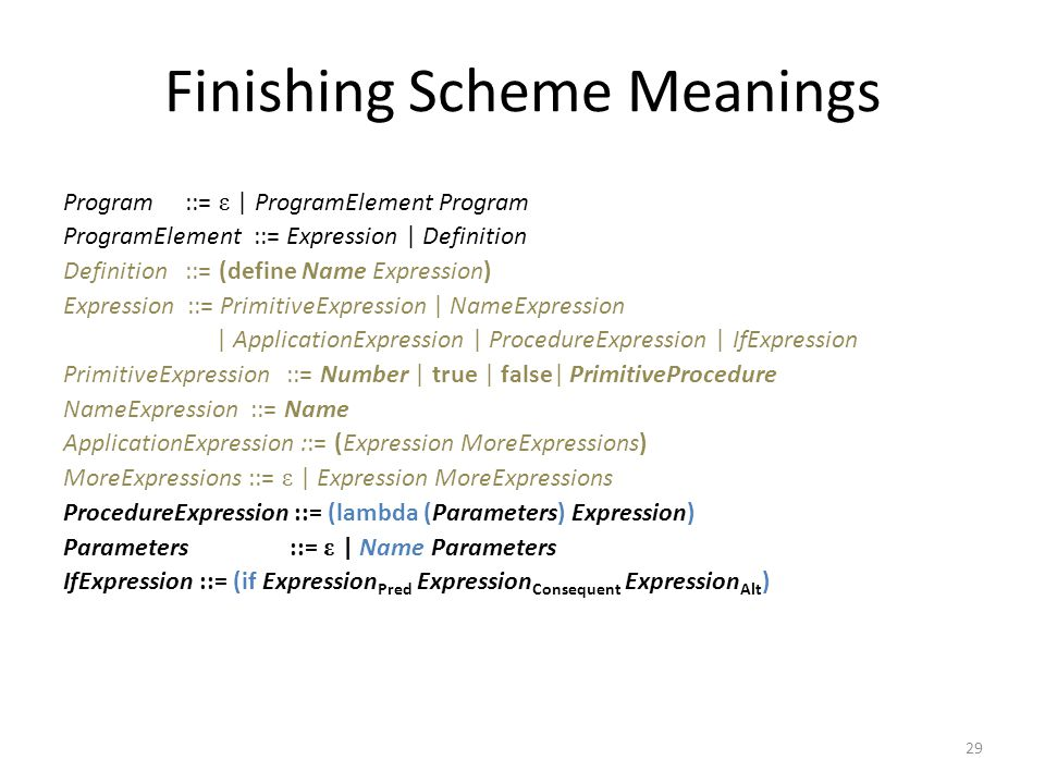 Finishing Scheme Meanings Program ::= ε | ProgramElement Program ProgramElement ::= Expression | Definition Definition ::= (define Name Expression) Expression ::= PrimitiveExpression | NameExpression | ApplicationExpression | ProcedureExpression | IfExpression PrimitiveExpression ::= Number | true | false| PrimitiveProcedure NameExpression ::= Name ApplicationExpression ::= (Expression MoreExpressions) MoreExpressions ::= ε | Expression MoreExpressions ProcedureExpression ::= (lambda (Parameters) Expression) Parameters ::= ε | Name Parameters IfExpression ::= (if Expression Pred Expression Consequent Expression Alt ) 29