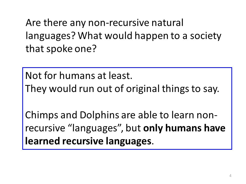 Are there any non-recursive natural languages? What would happen to a society that spoke one? Not for humans at least. They would run out of original