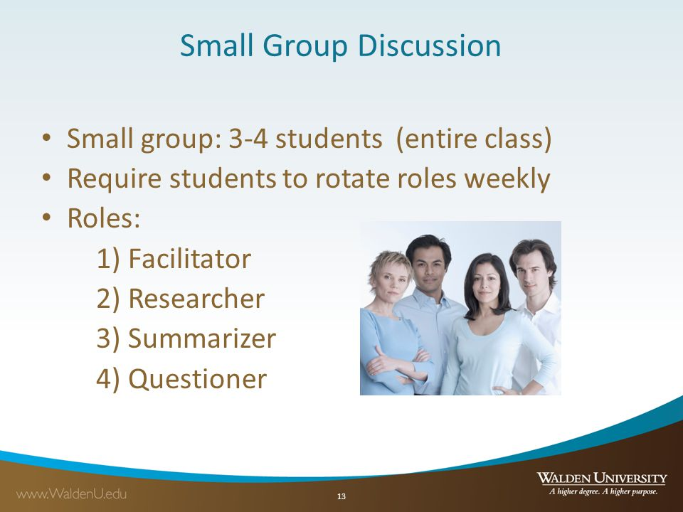 Small Group Discussion Small group: 3-4 students (entire class) Require students to rotate roles weekly Roles: 1) Facilitator 2) Researcher 3) Summarizer 4) Questioner 13