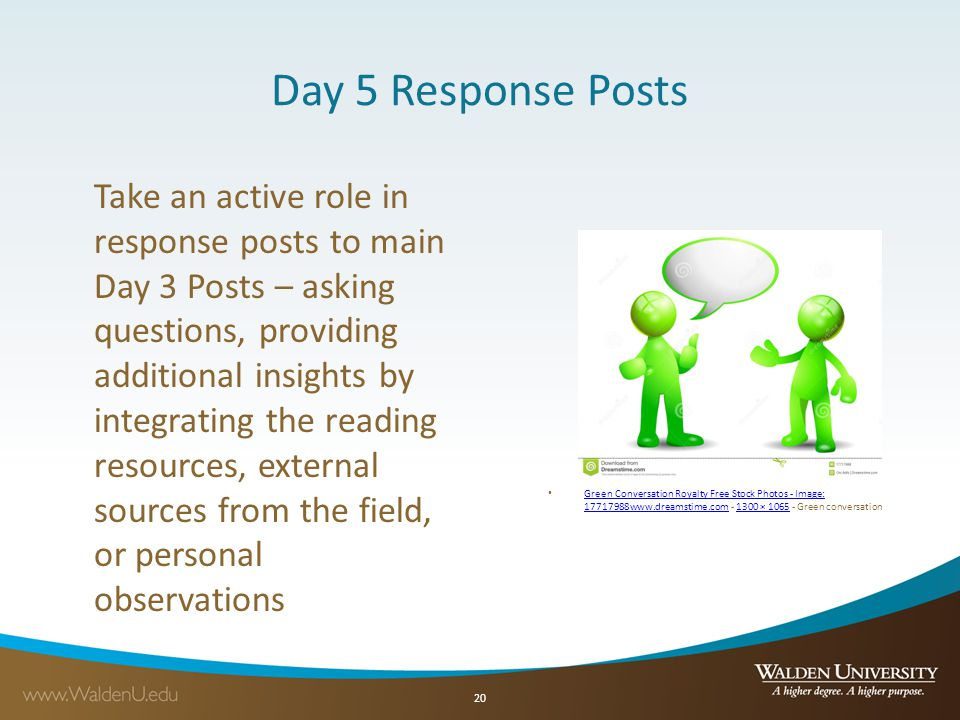 Day 5 Response Posts Take an active role in response posts to main Day 3 Posts – asking questions, providing additional insights by integrating the reading resources, external sources from the field, or personal observations Green Conversation Royalty Free Stock Photos - Image: 17717988www.dreamstime.com - 1300 × 1065 - Green conversation Green Conversation Royalty Free Stock Photos - Image: 17717988www.dreamstime.com1300 × 1065 20