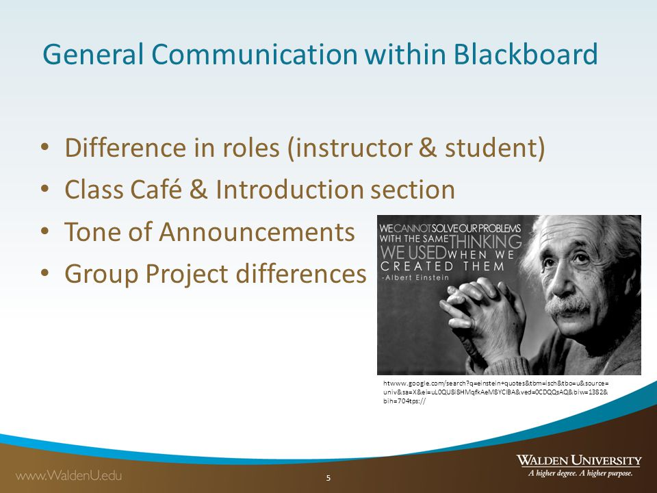 5 General Communication within Blackboard Difference in roles (instructor & student) Class Café & Introduction section Tone of Announcements Group Project differences htwww.google.com/search q=einstein+quotes&tbm=isch&tbo=u&source= univ&sa=X&ei=uL0QU8i8HMqfkAeM8YCIBA&ved=0CDQQsAQ&biw=1382& bih=704tps://