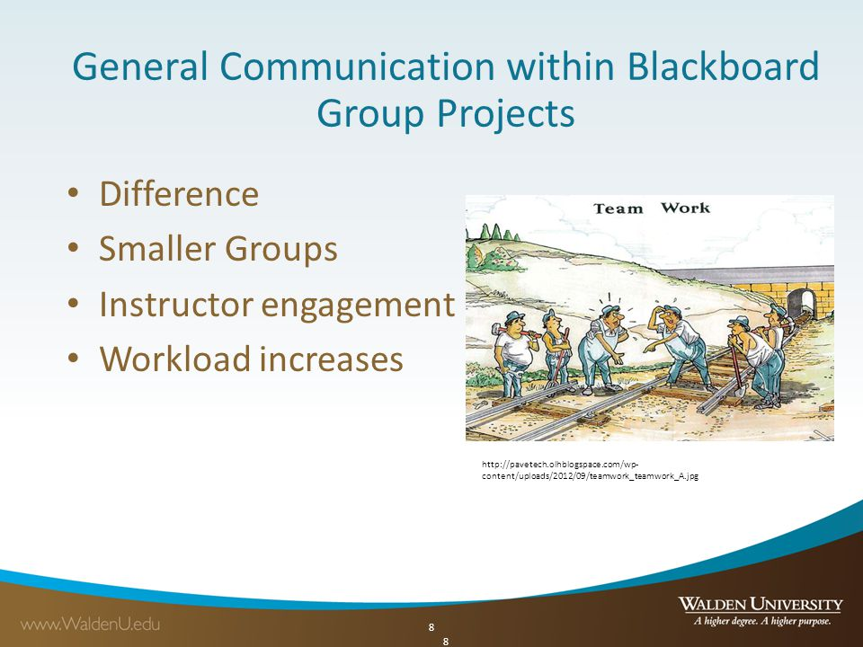 8 General Communication within Blackboard Group Projects Difference Smaller Groups Instructor engagement Workload increases 8 http://pavetech.olhblogspace.com/wp- content/uploads/2012/09/teamwork_teamwork_A.jpg