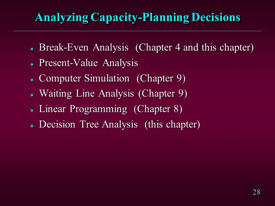 28 Analyzing Capacity-Planning Decisions l Break-Even Analysis (Chapter 4 and this chapter) l Present-Value Analysis l Computer Simulation (Chapter 9)