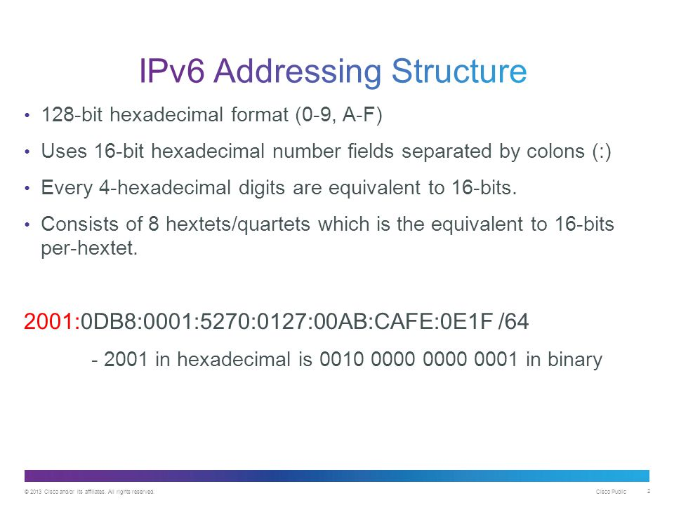 © 2013 Cisco and/or its affiliates. All rights reserved. Cisco Public 2 128-bit hexadecimal format (0-9, A-F) Uses 16-bit hexadecimal number fields se