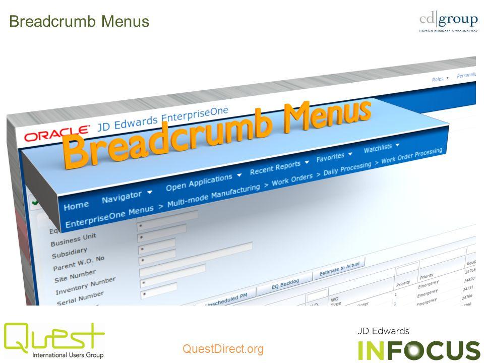 QuestDirect.org Breadcrumb Menus
