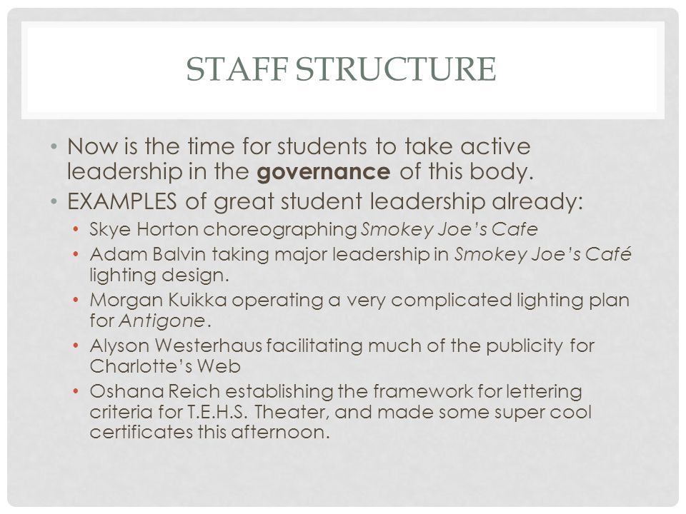 STAFF STRUCTURE, CONTD Mr.