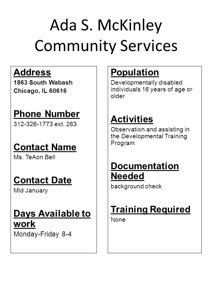 Edgebrook Community Center Address 1926 Green Lane North Apt 1A & 1B Palatine, IL 60074 Phone Number 847-776-9820 Contact Name Cristina Lara Days Available to work Population Activities After school programming and homework help Documentation Needed Training Required no Other Awaiting confirmation