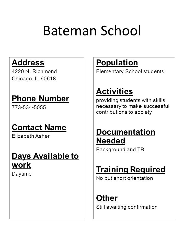 Bateman School Address 4220 N. Richmond Chicago, IL 60618 Phone Number 773-534-5055 Contact Name Elizabeth Asher Days Available to work Daytime Popula