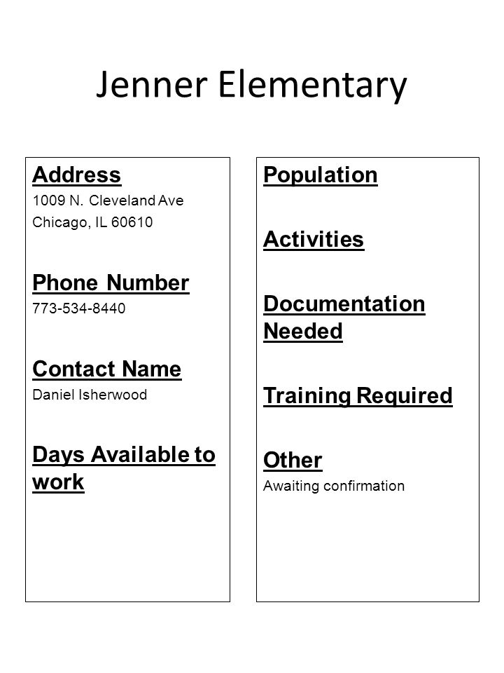 Jenner Elementary Address 1009 N. Cleveland Ave Chicago, IL 60610 Phone Number 773-534-8440 Contact Name Daniel Isherwood Days Available to work Popul