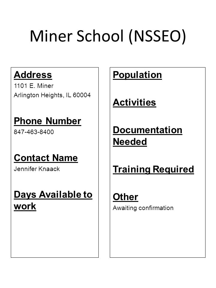 Miner School (NSSEO) Address 1101 E. Miner Arlington Heights, IL 60004 Phone Number 847-463-8400 Contact Name Jennifer Knaack Days Available to work P