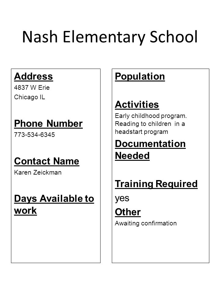 Nash Elementary School Address 4837 W Erie Chicago IL Phone Number 773-534-6345 Contact Name Karen Zeickman Days Available to work Population Activiti