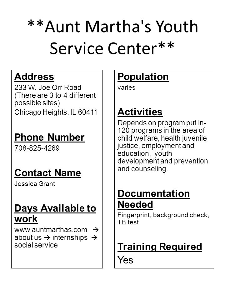 **Community Crisis Center** Address Unpublished (domestic violence shelter) Elgin, IL 60121 Phone Number 847-697-2380 Contact Name Maureen Manning- Resenfeld Days Available to work 7 days per week, anytime between 9 am and 9 pm Population Teen-adult Activities Emergency shelter, individual and group activities and counseling, parenting groups Documentation Needed Yes Training Required 6 hours of domestic violence training ( one on one, videos, reading)