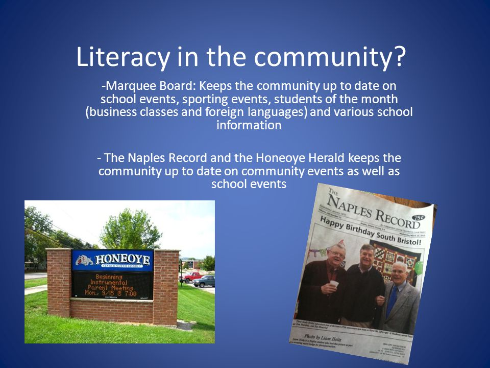 Literacy in the community.