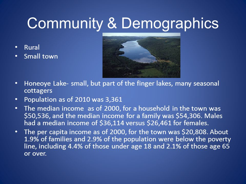 Community & Demographics Rural Small town Honeoye Lake- small, but part of the finger lakes, many seasonal cottagers Population as of 2010 was 3,361 T