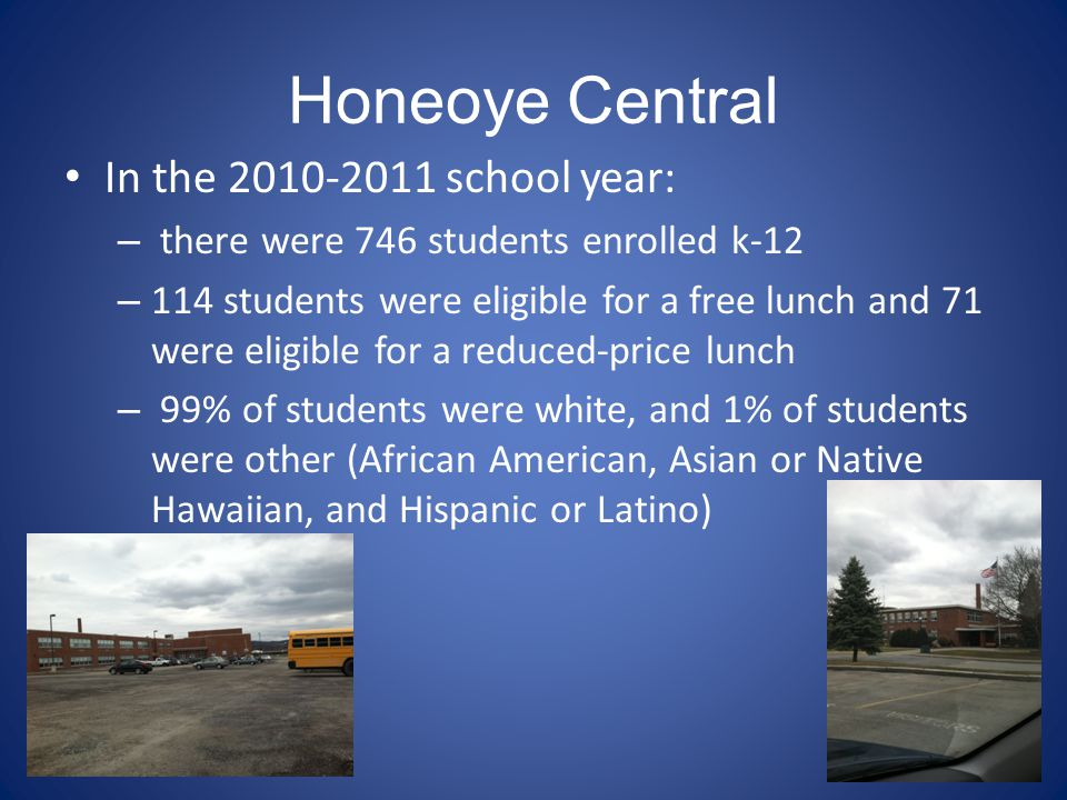 Honeoye Central In the 2010-2011 school year: – there were 746 students enrolled k-12 – 114 students were eligible for a free lunch and 71 were eligible for a reduced-price lunch – 99% of students were white, and 1% of students were other (African American, Asian or Native Hawaiian, and Hispanic or Latino)