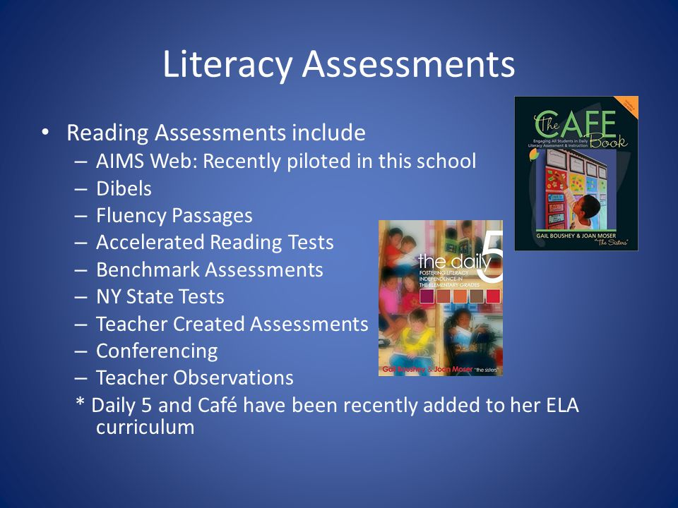 Literacy Assessments Reading Assessments include – AIMS Web: Recently piloted in this school – Dibels – Fluency Passages – Accelerated Reading Tests – Benchmark Assessments – NY State Tests – Teacher Created Assessments – Conferencing – Teacher Observations * Daily 5 and Café have been recently added to her ELA curriculum