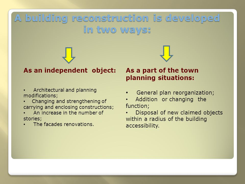 A building reconstruction is developed in two ways: As an independent object: Architectural and planning modifications; Changing and strengthening of carrying and enclosing constructions; An increase in the number of stories; The facades renovations.