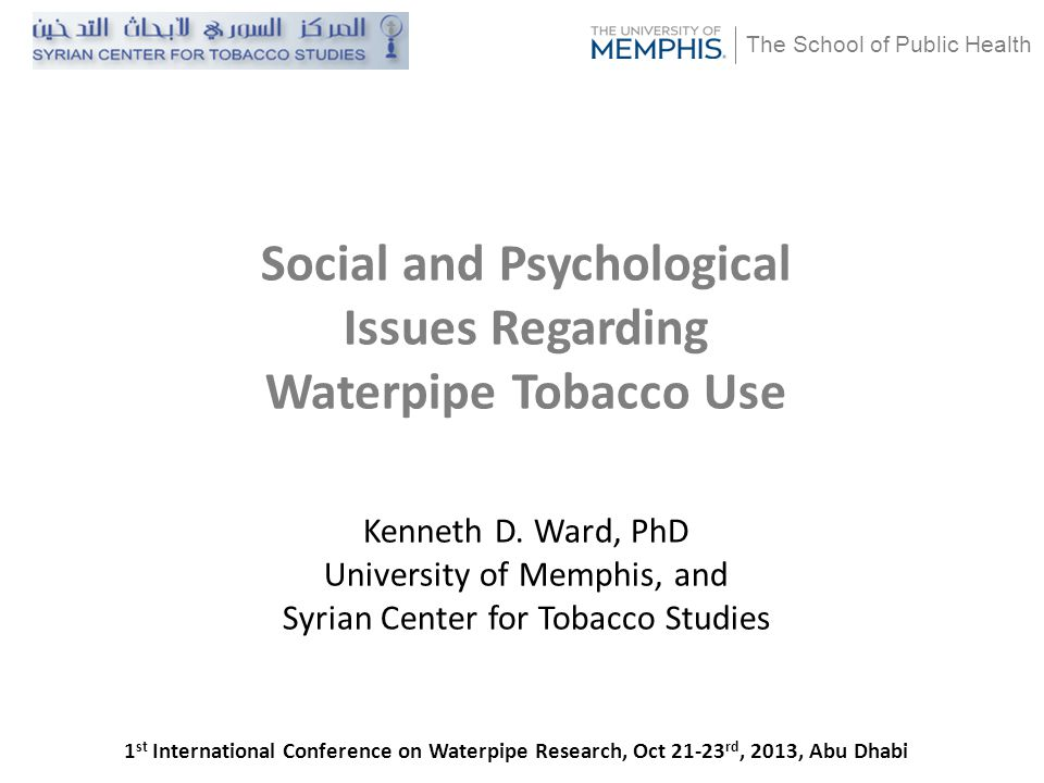 Goals What psychological and social factors encourage initiation and maintenance of waterpipe use.