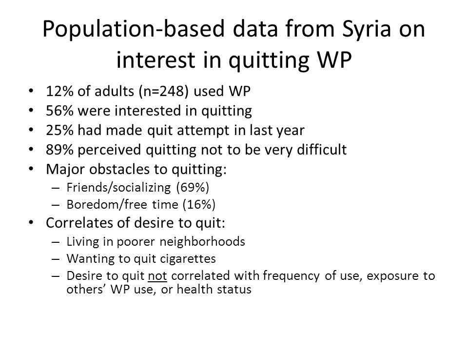 Population-based data from Syria on interest in quitting WP 12% of adults (n=248) used WP 56% were interested in quitting 25% had made quit attempt in last year 89% perceived quitting not to be very difficult Major obstacles to quitting: – Friends/socializing (69%) – Boredom/free time (16%) Correlates of desire to quit: – Living in poorer neighborhoods – Wanting to quit cigarettes – Desire to quit not correlated with frequency of use, exposure to others WP use, or health status