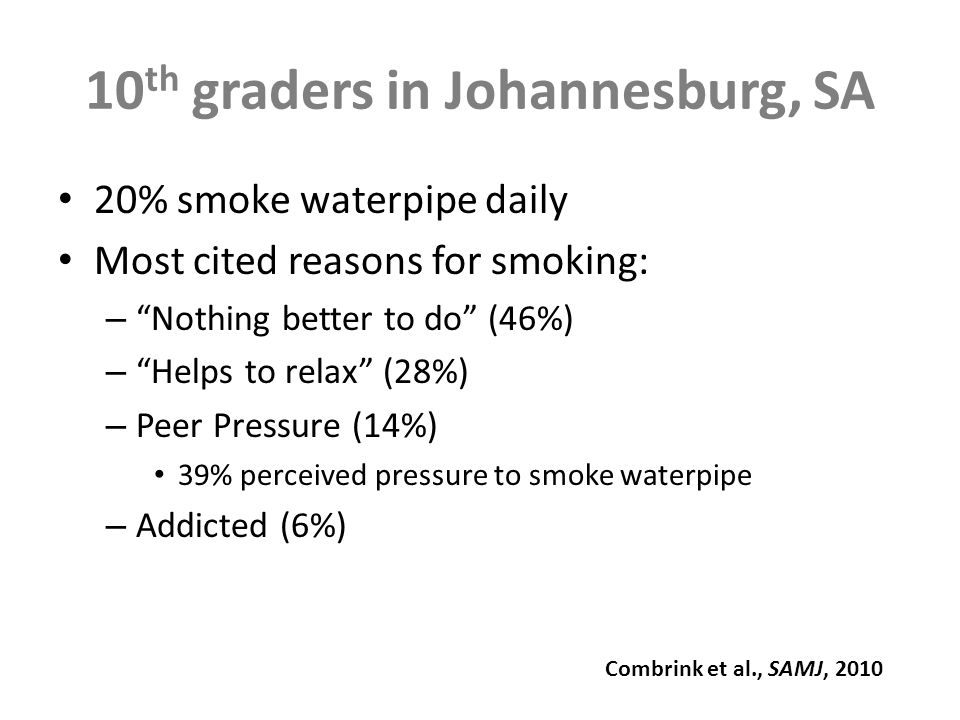10 th graders in Johannesburg, SA 20% smoke waterpipe daily Most cited reasons for smoking: – Nothing better to do (46%) – Helps to relax (28%) – Peer Pressure (14%) 39% perceived pressure to smoke waterpipe – Addicted (6%) Combrink et al., SAMJ, 2010