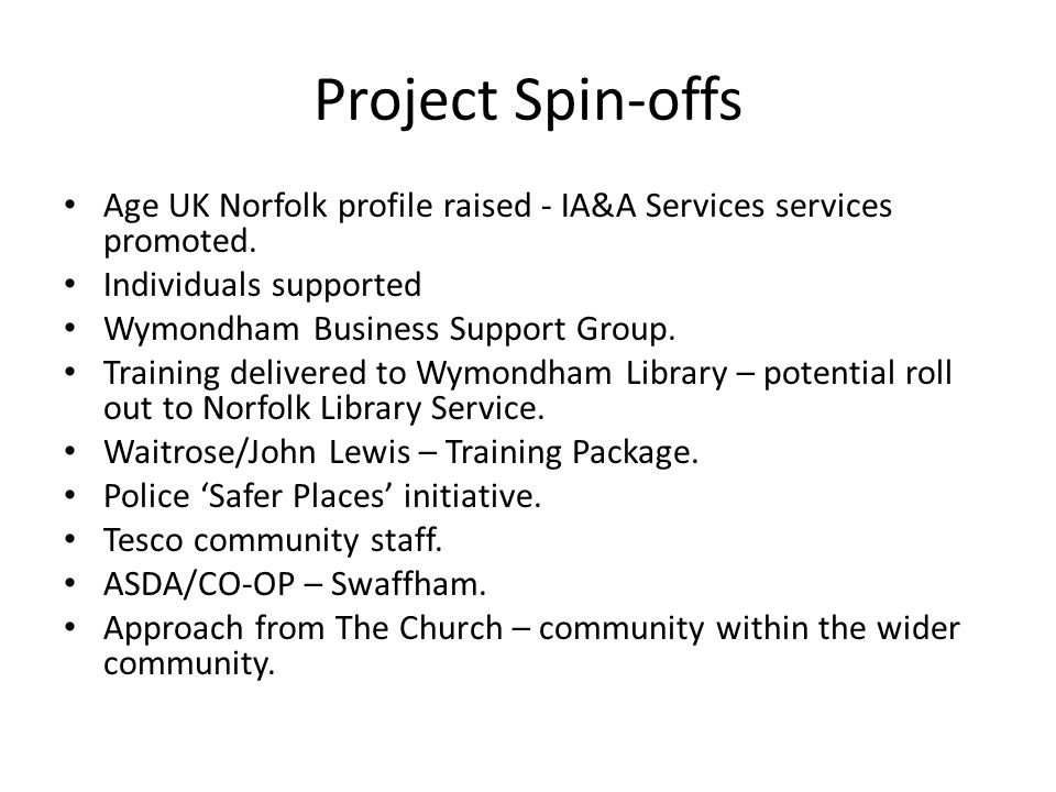 Project Spin-offs Age UK Norfolk profile raised - IA&A Services services promoted.