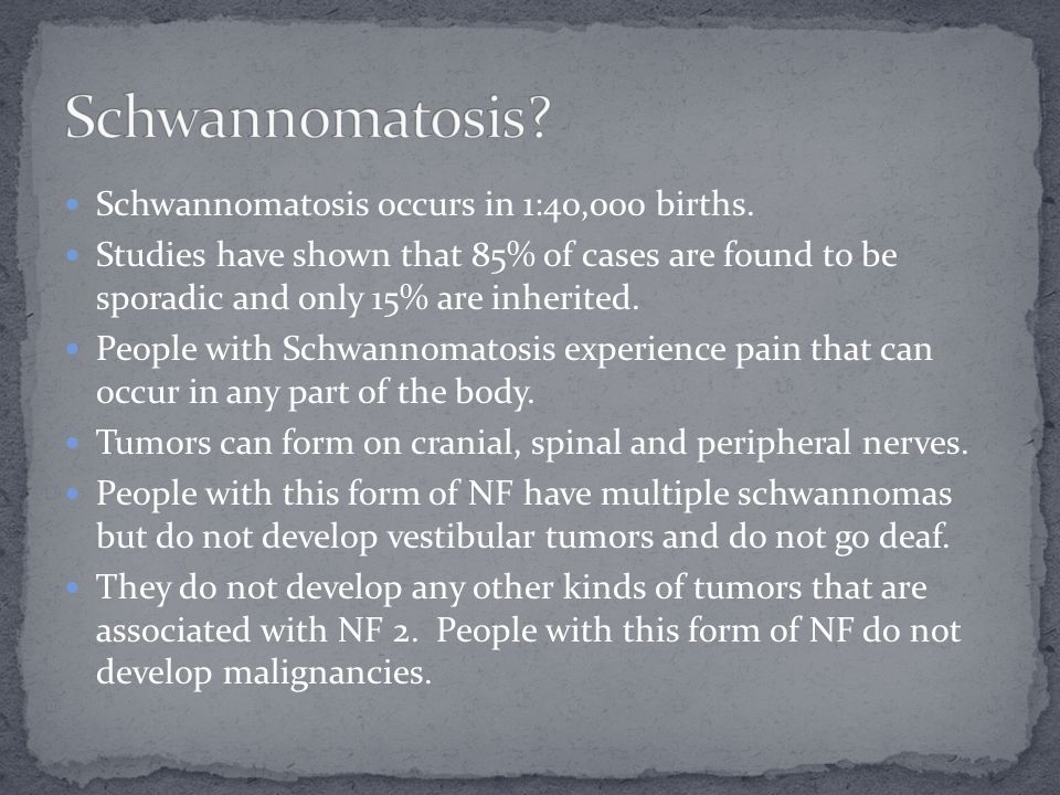 Schwannomatosis occurs in 1:40,000 births. Studies have shown that 85% of cases are found to be sporadic and only 15% are inherited. People with Schwa