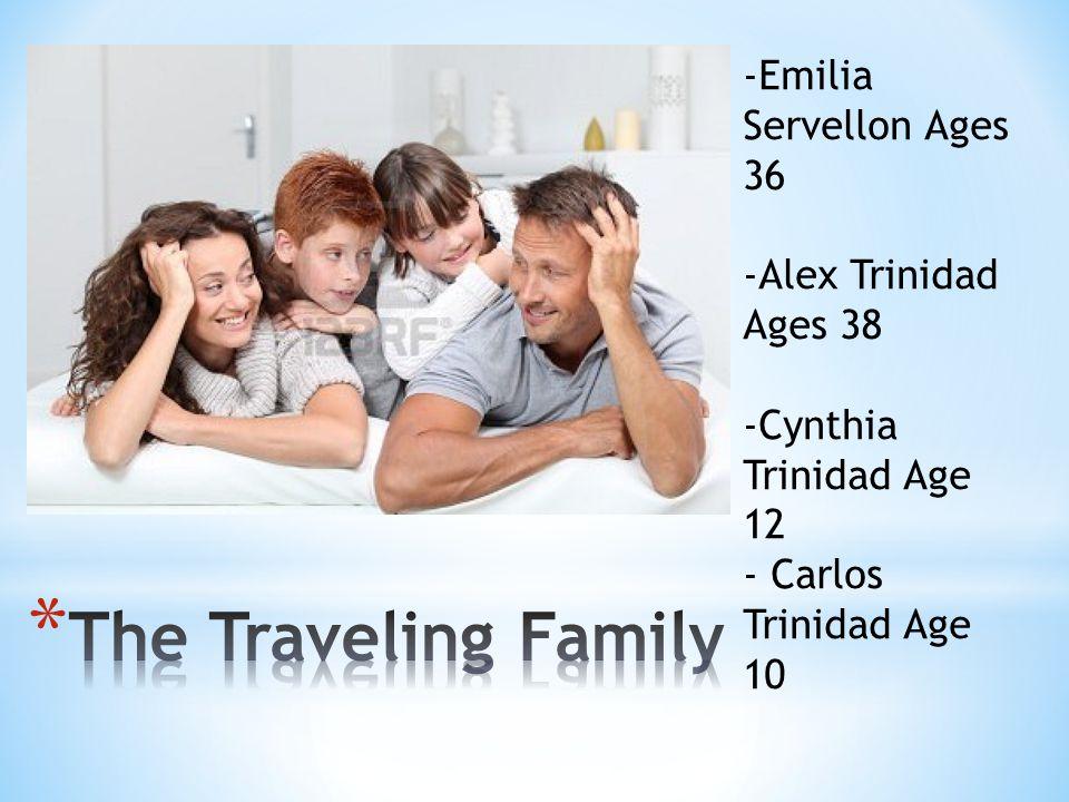 -Emilia Servellon Ages 36 -Alex Trinidad Ages 38 -Cynthia Trinidad Age 12 - Carlos Trinidad Age 10
