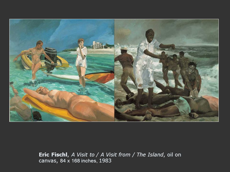 Eric Fischl, A Visit to / A Visit from / The Island, oil on canvas, 84 x 168 inches, 1983