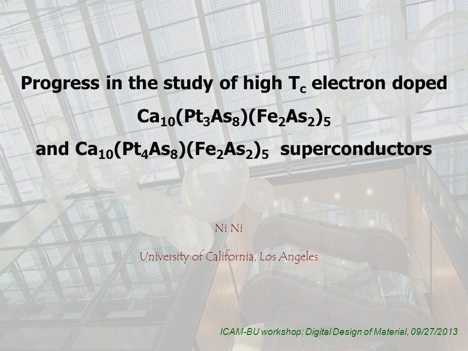 Back to 2008: the first Fe-Based High T c superconductor: LaFeAsO 1-x F x FeAs layer made of the edge-sharing FeAs4 tetrahedral is the conducting layer key structural ingredient Reinvestigate known compounds with FeAs layer and search for new compounds with this layer Y.