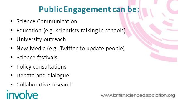 Public Engagement can be: Science Communication Education (e.g.