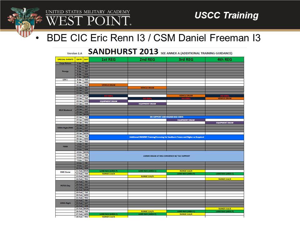 USCC Training BDE CIC Eric Renn I3 / CSM Daniel Freeman I3