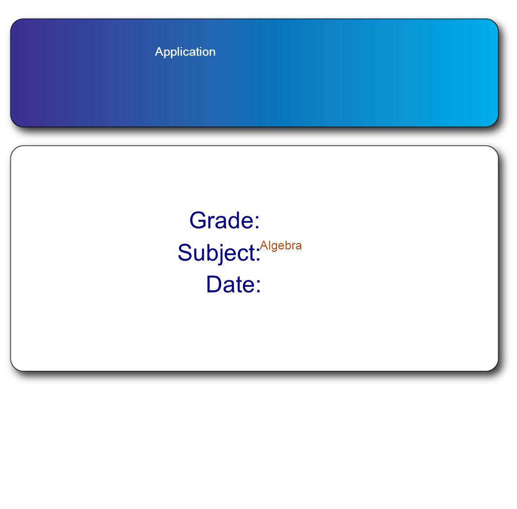 Application Grade: Subject: Algebra Date: